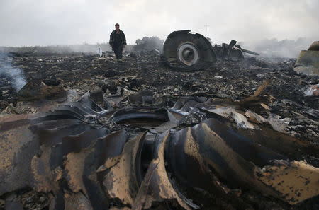 An Emergencies Ministry member walks at a site of a Malaysia Airlines Boeing 777 plane crash near the settlement of Grabovo in the Donetsk region, July 17, 2014. REUTERS/Maxim Zmeyev