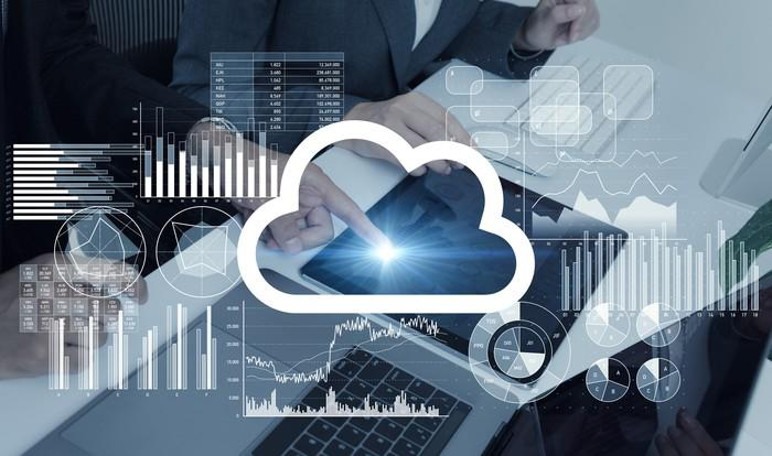 A cloud icon in front of graphs, charts, and people using laptops and tablets.
