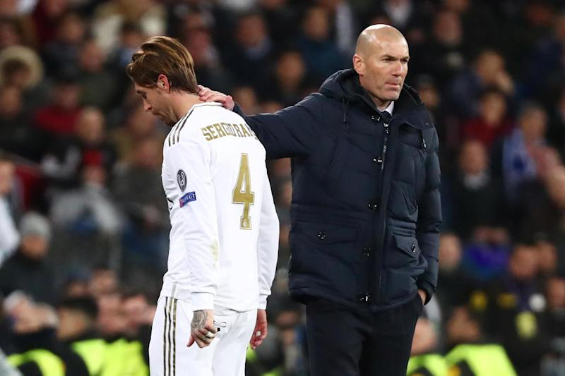 Zinedine Zidane - who will be without the suspended Sergio Ramos for the second leg - believes his side will respond (REUTERS)