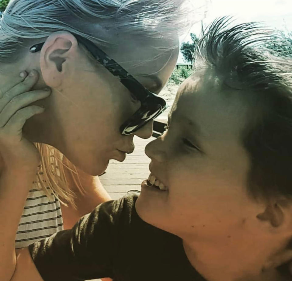 A photo of Jett Somerhayes-Nixon, 11, and his mum, Julia Somerhayes.