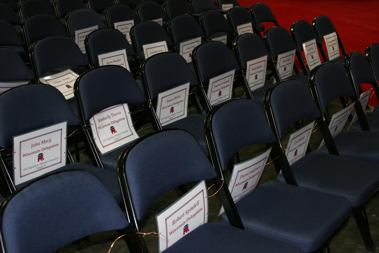 Delegate seating assignments line the chairs in the forum at the Republican National Convention on Monday, Aug. 27, 2012. (Torrey AndersonSchoepe/Yahoo! News)