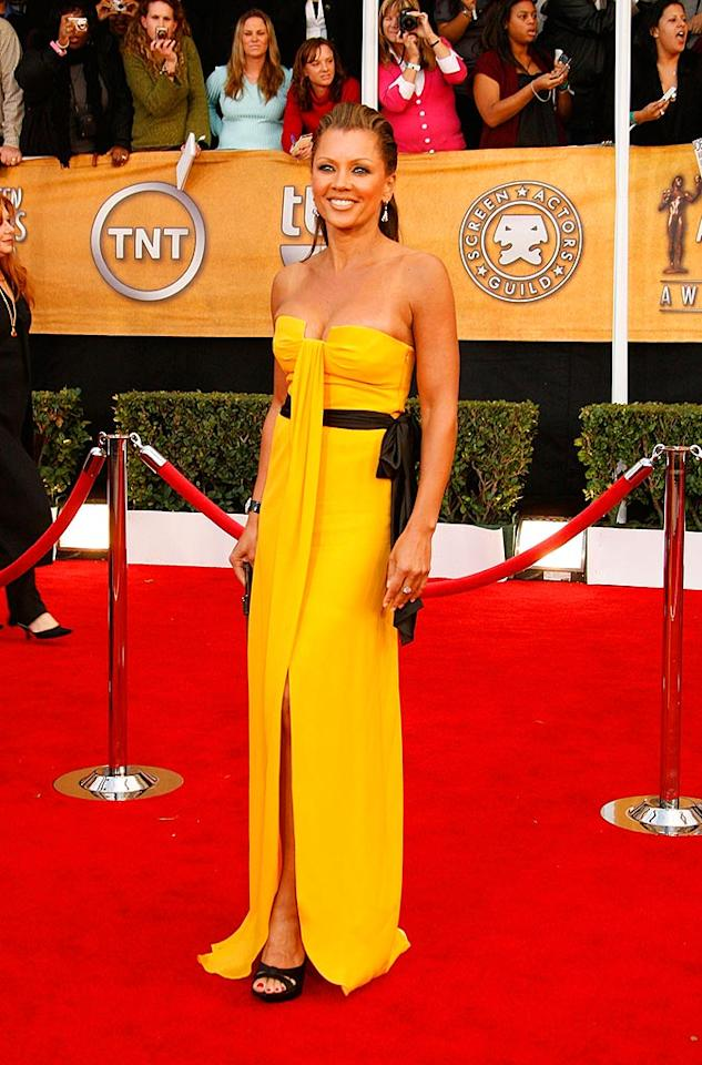 """""""Ugly Betty's"""" Vanessa Willams wows in a golden Escada gown that her eldest daughter picked out especially for her. Jeff Vespa/<a href=""""http://www.wireimage.com"""" target=""""new"""">WireImage.com</a> - January 27, 2008"""