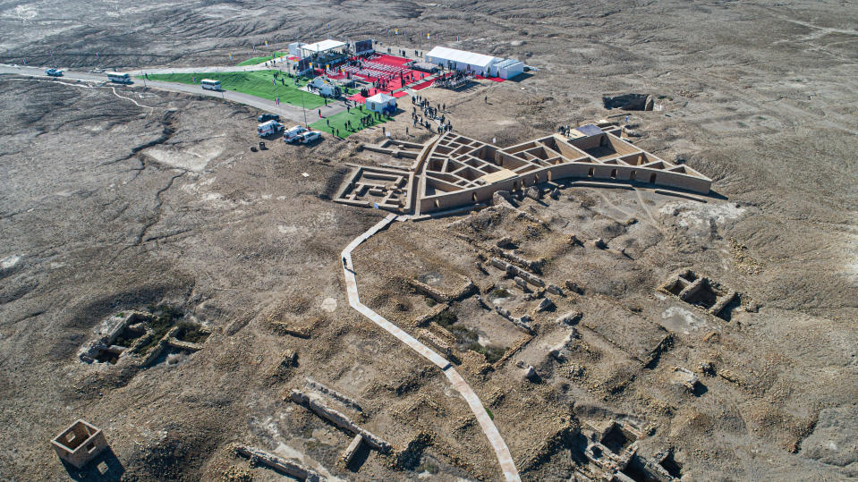 An aerial photo shows the 6,000-year-old archaeological site of Ur amid preparations for Pope Francis' visit near Nasiriyah, Iraq, Saturday, March 6, 2021. Pope Francis arrived in Iraq on Friday to urge the country's dwindling number of Christians to stay put and help rebuild the country after years of war and persecution, brushing aside the coronavirus pandemic and security concerns to make his first-ever papal visit. (AP Photo/Nabil al-Jourani)