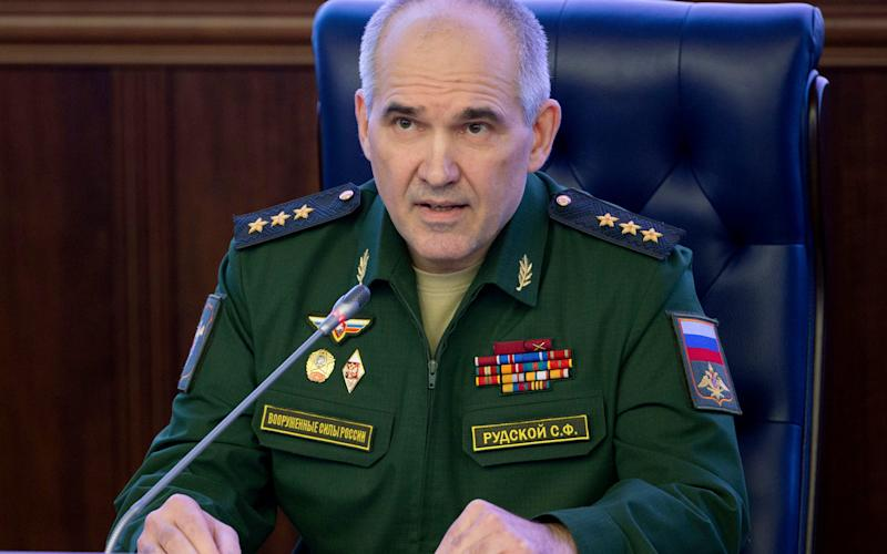 Col. Gen. Sergei Rudskoi of the Russian military's General Staff - Credit: Sergey Bobylev/Pool photo via AP