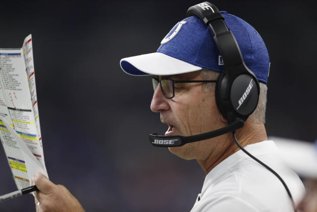 Indianapolis Colts head coach Frank Reich calls a play during the second half of an NFL football game against the Cincinnati Bengals in Indianapolis, Sunday, Sept. 9, 2018. (AP Photo/Jeff Roberson)