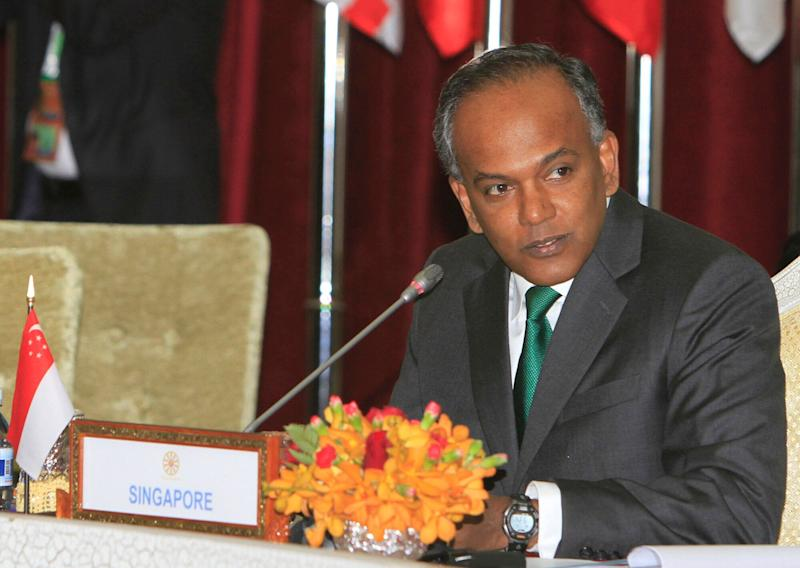 Singapore's Law and Home Affairs Minister K. Shanmugam. (PHOTO: AP/Heng Sinith)