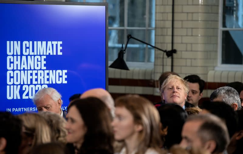 British Prime Minister Boris Johnson attends a conference about the UK-hosted COP26 UN Climate Summit, at the Science Museum in London