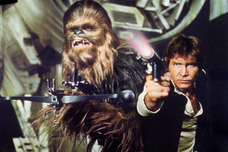 Peter Mayhew as Chewbacca and Harrison Ford as Han Solo in 'Star Wars' (Photo: LucasFilm)
