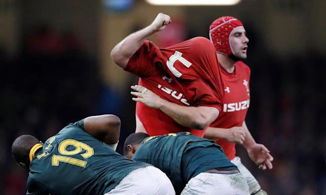 Rugby Union - Autumn Internationals - Wales vs South Africa - Principality Stadium, Cardiff, Britain - December 2, 2017 Wales' Scott Andrews after his shirt is pulled over his head Action Images via Reuters/Andrew Boyers TPX IMAGES OF THE DAY
