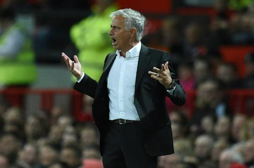 Manchester United manager Jose Mourinho shows his frustration