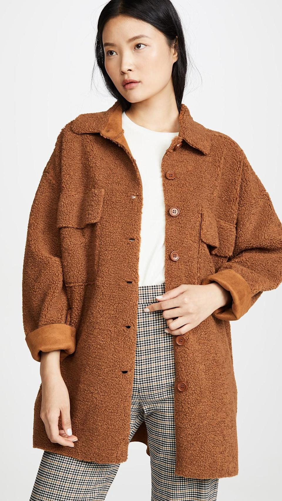 <p>Exude fall vibes in this <span>Moon River Midi Button Front Jacket</span> ($163, plus use code FALL20).</p>