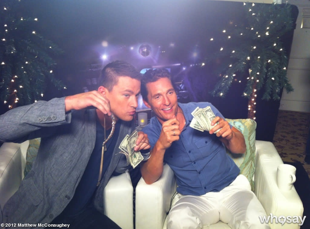 "Matthew McConaughey posted a photo to <a target=""_blank"" href=""http://www.matthewmcconaughey.com/photos/193135"">his WhoSay page </a>of himself and  fellow hunky actor Channing Tatum counting their dough at the press  junket for their new movie ""Magic Mike,"" in which they both play  strippers. ""First time I made money at a junket. @channingtatum and  #mcconaughey... makin money #magicmike,"" he wrote. Maybe these guys are  in the wrong profession! (6/23/2012)"
