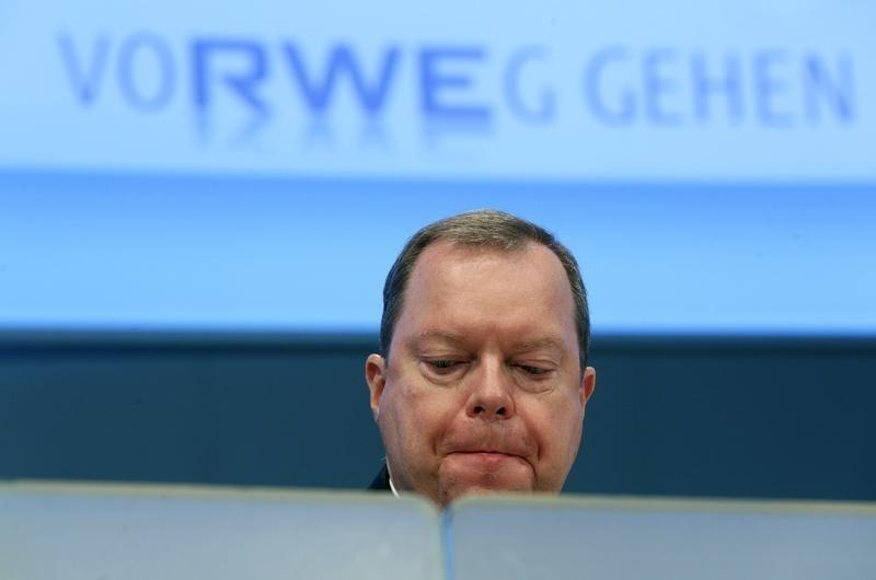 Peter Terium CEO of German power supplier RWE reacts during the annual shareholders meeting in Essen
