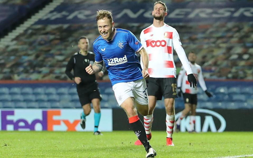 Scott Arfield celebrates scoring his side's third goal of the game during their impressive 3-2 win over Standard Liege - PA