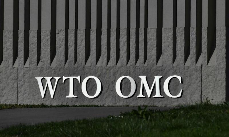 A sign at the WTO headquarters in Geneva
