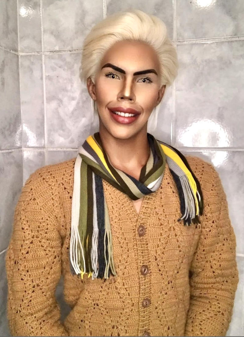 A 17-year-old boy spends four hours per day applying makeup to look like his favourite doll, Ken