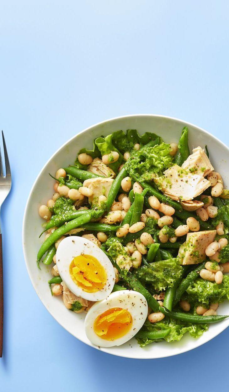 """<p>Parlay a can of tuna into a super zesty bean salad with plenty of green beans and toothy white beans.</p><p><em><a href=""""https://www.goodhousekeeping.com/food-recipes/easy/a27545116/white-bean-and-tuna-salad-with-basil-vinaigrette-recipe/"""" rel=""""nofollow noopener"""" target=""""_blank"""" data-ylk=""""slk:Get the recipe for White Bean and Tuna Salad With Basil Vinaigrette »"""" class=""""link rapid-noclick-resp"""">Get the recipe for White Bean and Tuna Salad With Basil Vinaigrette »</a></em></p>"""