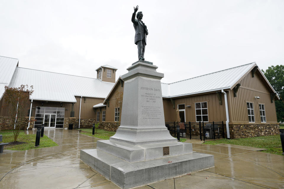 A statue of Jefferson Davis, who served as the president of the Confederate States from 1861 to 1865, stands outside the National Confederate Museum June 6, 2021, in Columbia, Tenn. With the approval of relatives, the remains of Confederate Gen. Nathan Bedford Forrest will be moved from Memphis, Tenn., to the museum. (AP Photo/Mark Humphrey)