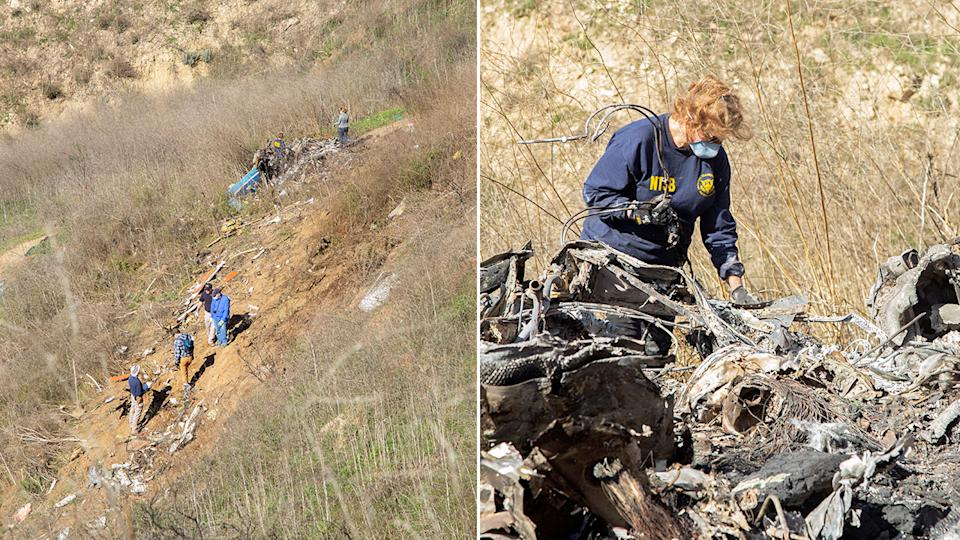 Seen here, an investigator works at the scene of the helicopter crash that killed Kobe Bryant and eight others.
