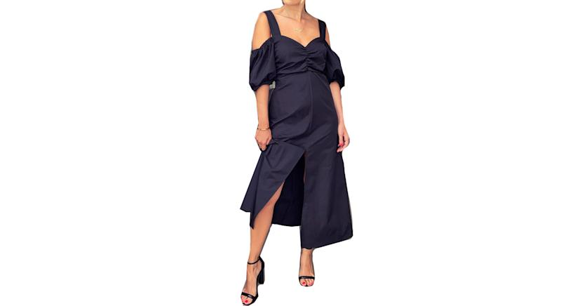 Black Taffeta Bardot Midi Dress