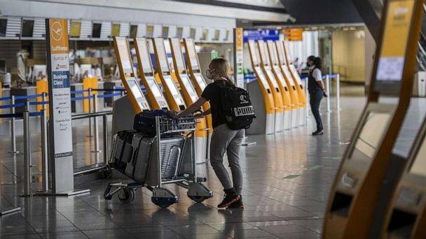 PHOTO: A passenger walks to Lufthansa check in counter at Frankfurt Airport during the novel coronavirus pandemic, June 15, 2020, in Frankfurt am Main, in Germany. (Thomas Lohnes/Getty Images)