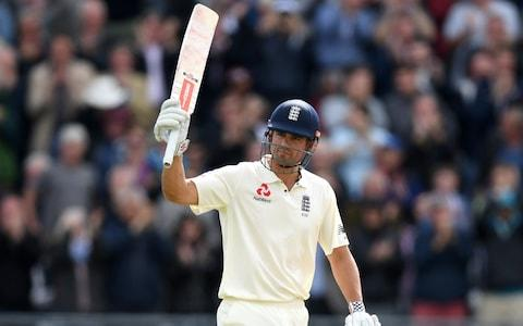Alastair Cook salutes the crowd on making 200 - Credit: Getty