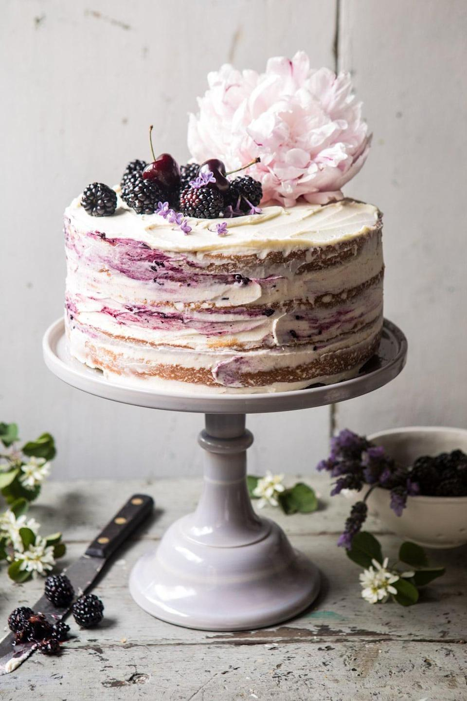 "<p>Take your V-Day celebration to the next level when you make this blackberry lavender masterpiece. It's complete with four layers of cake, white-chocolate buttercream, and homemade blackberry lavender jam, and your partner will crown you the best baker of all.</p> <p><strong>Get the recipe</strong>: <a href=""https://www.halfbakedharvest.com/blackberry-lavender-naked-cake/"" class=""link rapid-noclick-resp"" rel=""nofollow noopener"" target=""_blank"" data-ylk=""slk:blackberry lavender naked cake with white-chocolate buttercream"">blackberry lavender naked cake with white-chocolate buttercream</a></p>"