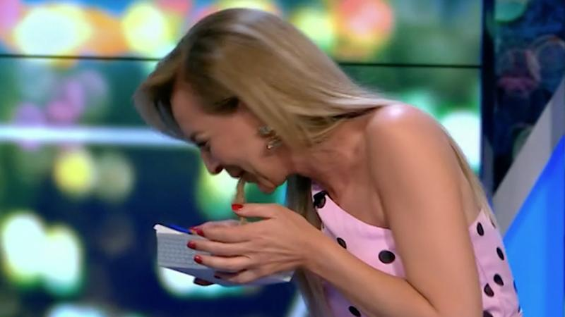 Carrie Bickmore couldn't stomach jellyfish on The Project on Tuesday night and ended up throwing up. Photo: Ten