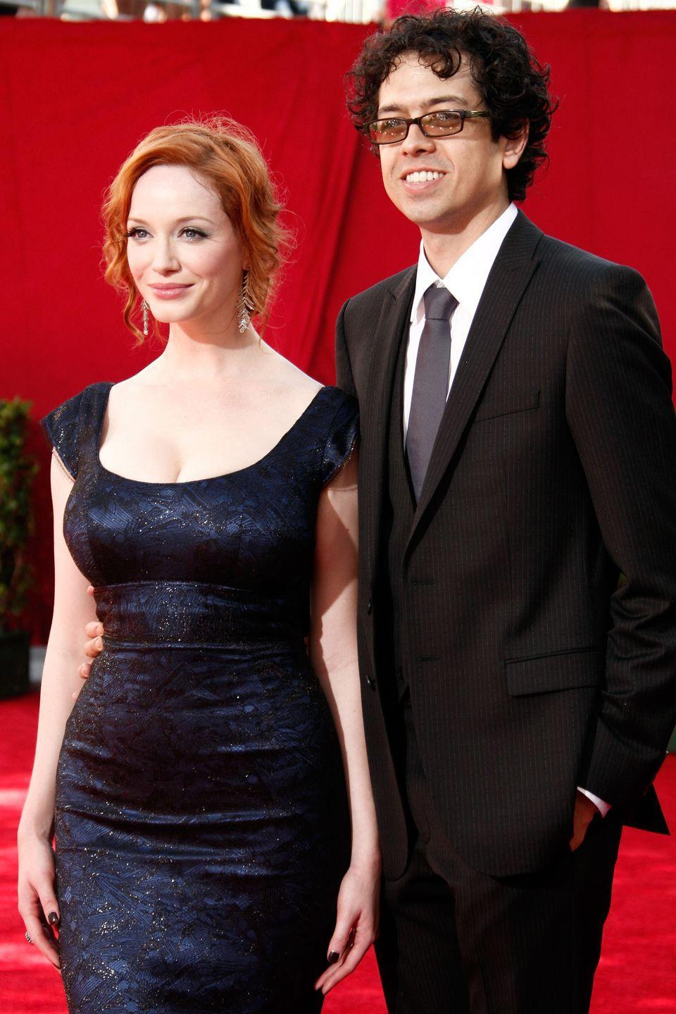"""<p>Christina Hendricks married Geoffrey Arend at the height of her <em>Mad Men</em> fame, but the low-key actors managed to still keep their personal lives under the radar. After 10 years, they announced their split in 2019. """"Twelve years ago we fell in love and became partners. We joined our two amazing families, had countless laughs, made wonderful friends and were blessed with incredible opportunities,"""" they told <a href=""""https://www.usmagazine.com/celebrity-news/pictures/christina-hendricks-and-geoffrey-arend-the-way-they-were/"""" rel=""""nofollow noopener"""" target=""""_blank"""" data-ylk=""""slk:US Weekly"""" class=""""link rapid-noclick-resp"""">US Weekly</a>. """"Today we take our next step together, but on separate paths. We will always be grateful for the love we've shared and will always work together to raise our two beautiful dogs.""""<br></p>"""