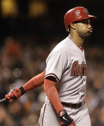Arizona Diamondbacks' Chris Young reacts after being called out on strikes from San Francisco Giants' Clay Hensley during the eighth inning of a baseball game Tuesday, May 29, 2012, in San Francisco. (AP Photo/Ben Margot)