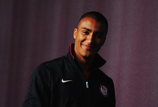 LONDON, ENGLAND - JULY 30: Decathlete Ashton Eaton of the United States attends an USOC Athletics press conference on Day 3 of the London 2012 Olympic Games at the Main Press Centre on July 30, 2012 in London, England. (Photo by Stu Forster/Getty Images)