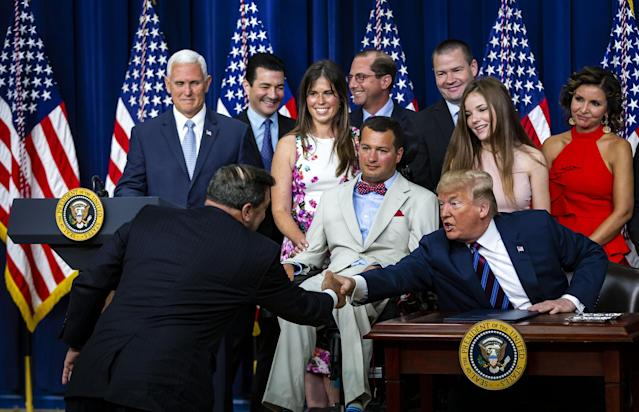 "<span class=""s1"">President Trump shakes hands with Sen. Joe Donnelly during the signing ceremony for the Right to Try Act on May 30. (Photo: Al Drago/Bloomberg via Getty Images)</span>"