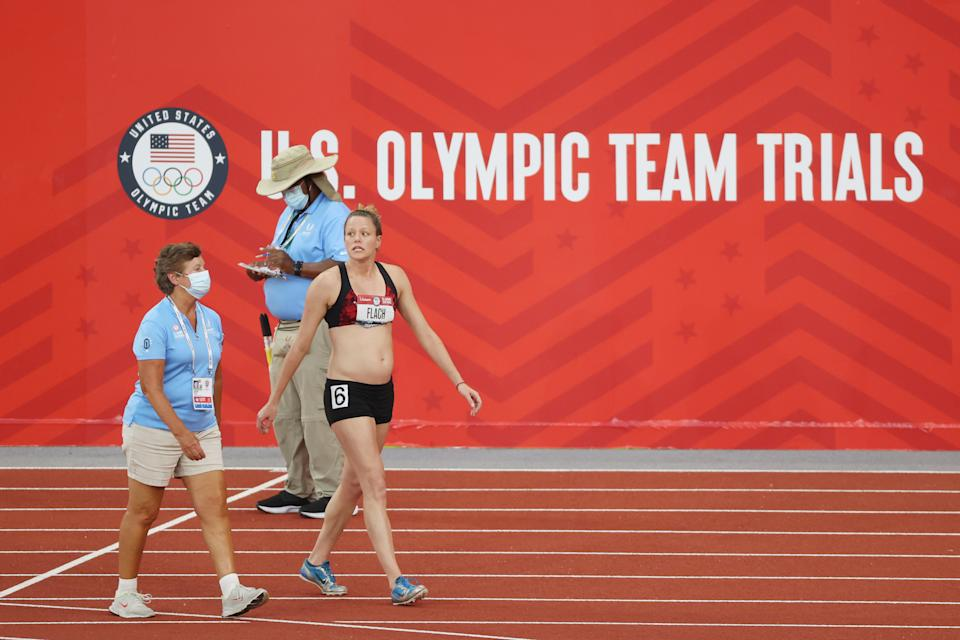 EUGENE, OREGON - JUNE 27: Lindsay Flach walks from the track after dropping out of the Women's Heptathlon 800 Meters during day ten of the 2020 U.S. Olympic Track & Field Team Trials at Hayward Field on June 27, 2021 in Eugene, Oregon. (Photo by Cliff Hawkins/Getty Images)