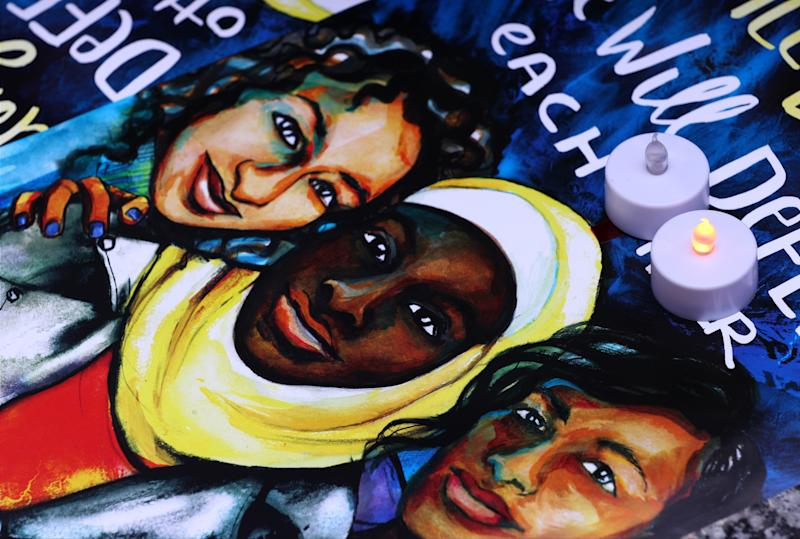 An illustration is seen during a commemoration ceremony at the Federal Plaza in Chicago, IL, United States on June 22, 2017 for Nabra Hassanen, who was murdered on her way back to an overnight event at the All Dulles Area Muslim Society in Fairfax, Virginia. (Anadolu Agency via Getty Images)