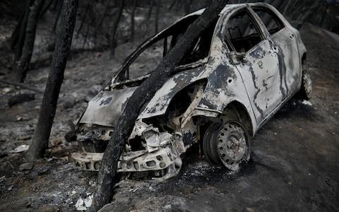 A burned car is stuck under a burned tree following a wildfire in Neos Voutzas, near Athens - Credit: ALKIS KONSTANTINIDIS/Reuters