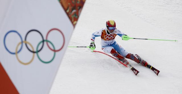 Austria's Marcel Hirscher nears the finish in the men's slalom at the Sochi 2014 Winter Olympics, Saturday, Feb. 22, 2014, in Krasnaya Polyana, Russia. (AP Photo/Christophe Ena)