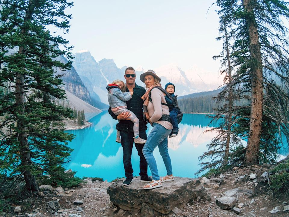 The family <span>at Lake Louise in Canada. </span>Photo: Caters News