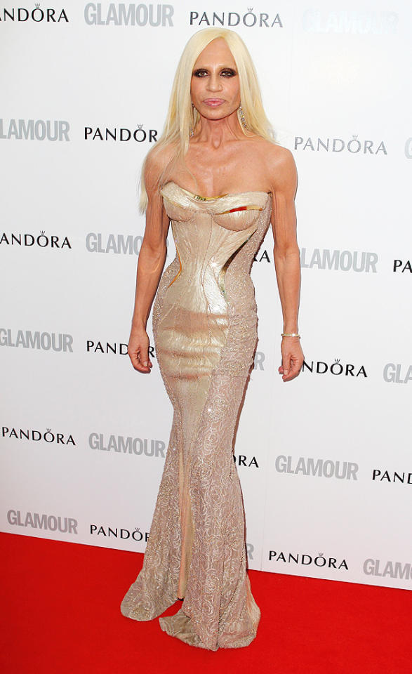 Donatella Versace was honored in the Fashion Designer category for her work at Versace. The 57-year-old donned a curve-hugging, nude mermaid number from her own designer label. Do you think she was hot ... or not?