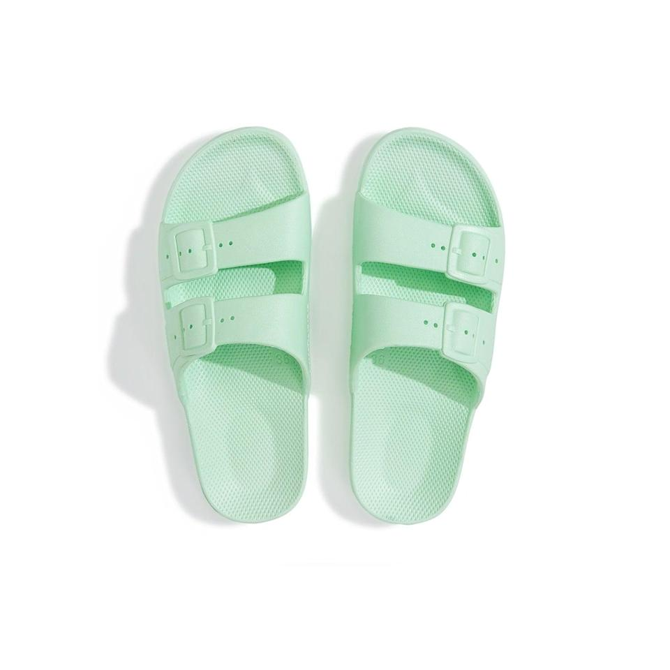 """<p>""""I am all about a slide with personality and 100 percent vegan, cruelty-free, and recyclable brand Freedom Moses offers that in heaps and bounds. The endless color wheel of shades and prints is so fun to shop from. I'm personally eyeing the <span>Mint Slides</span> ($45) this season."""" - SW</p>"""