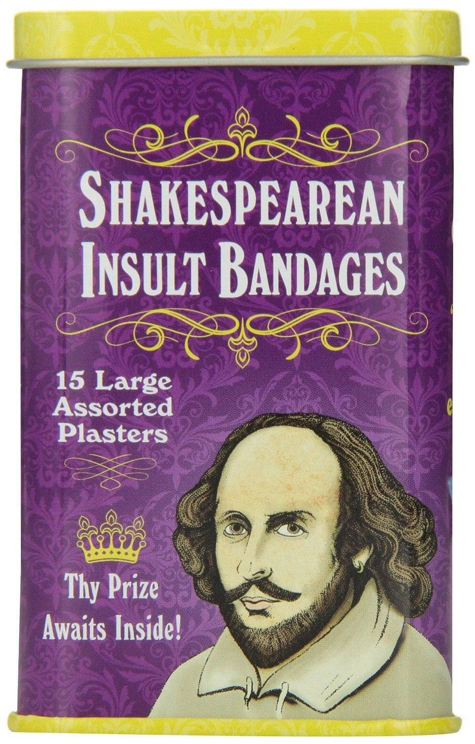 <p>Everyone needs bandages, but these <span>Accoutrements Shakespearean Insult Bandages</span> ($8) are so funny.</p>