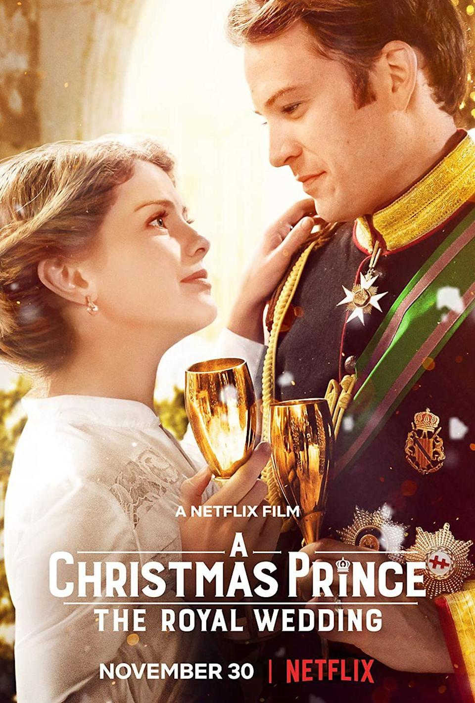 """<p>After people lost their collective sh*t over <em>A Christmas Prince</em>, Netflix did what it does best: make a seriously corny sequel. And, just like another princess-themed franchise (cough, <em>The Princess Diaries,</em> cough) this time, there's a royal wedding going down.Expect ridiculous hijinks, cringe-worthy banter, and truly insane wedding-dress designs. File this Christmas movie under """"So Bad, It's Good.""""</p><p><a class=""""link rapid-noclick-resp"""" href=""""https://www.netflix.com/title/80160759"""" rel=""""nofollow noopener"""" target=""""_blank"""" data-ylk=""""slk:Watch Now"""">Watch Now</a></p>"""