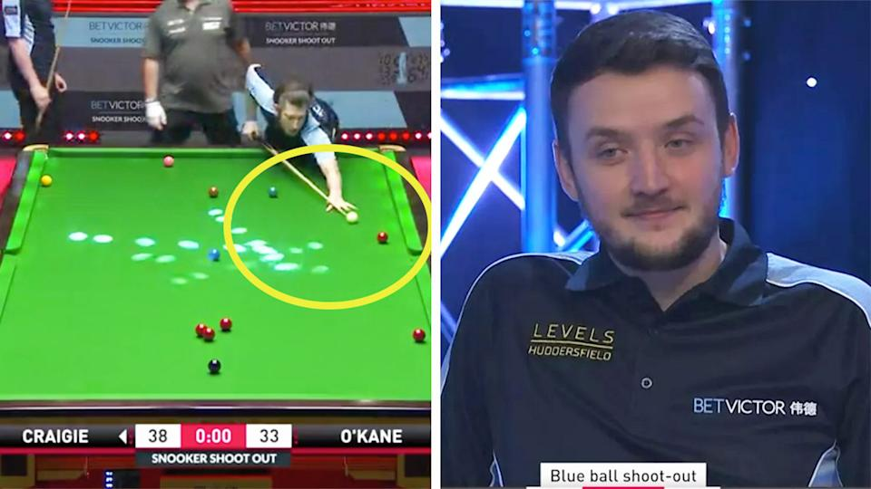 Sam Craigie (pictured right) in shock after failing to hit the red ball into the cushion (pictured left) at the Shoot Out.
