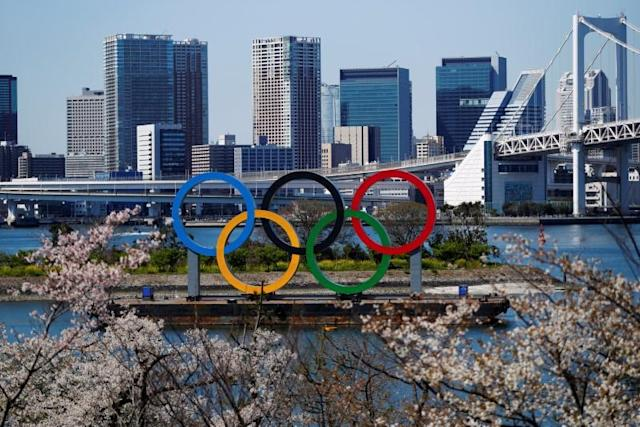 Giant Olympic rings are seen at the waterfront area at Odaiba Marine Park in Tokyo, Japan