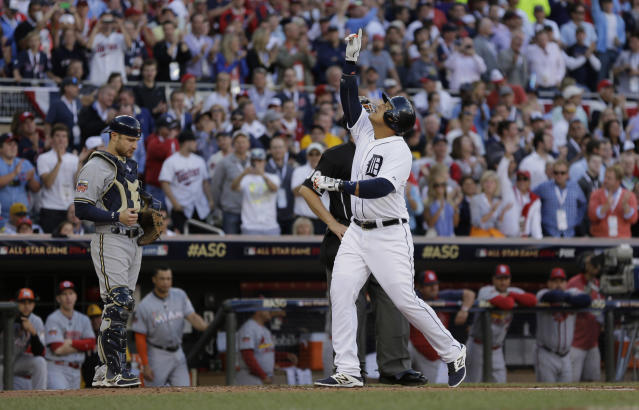 Miguel Cabrera, of the Detroit Tigers, celebrates after hitting a home run during the first inning of the MLB All-Star baseball game, Tuesday, July 15, 2014, in Minneapolis. (AP Photo/Jeff Roberson)