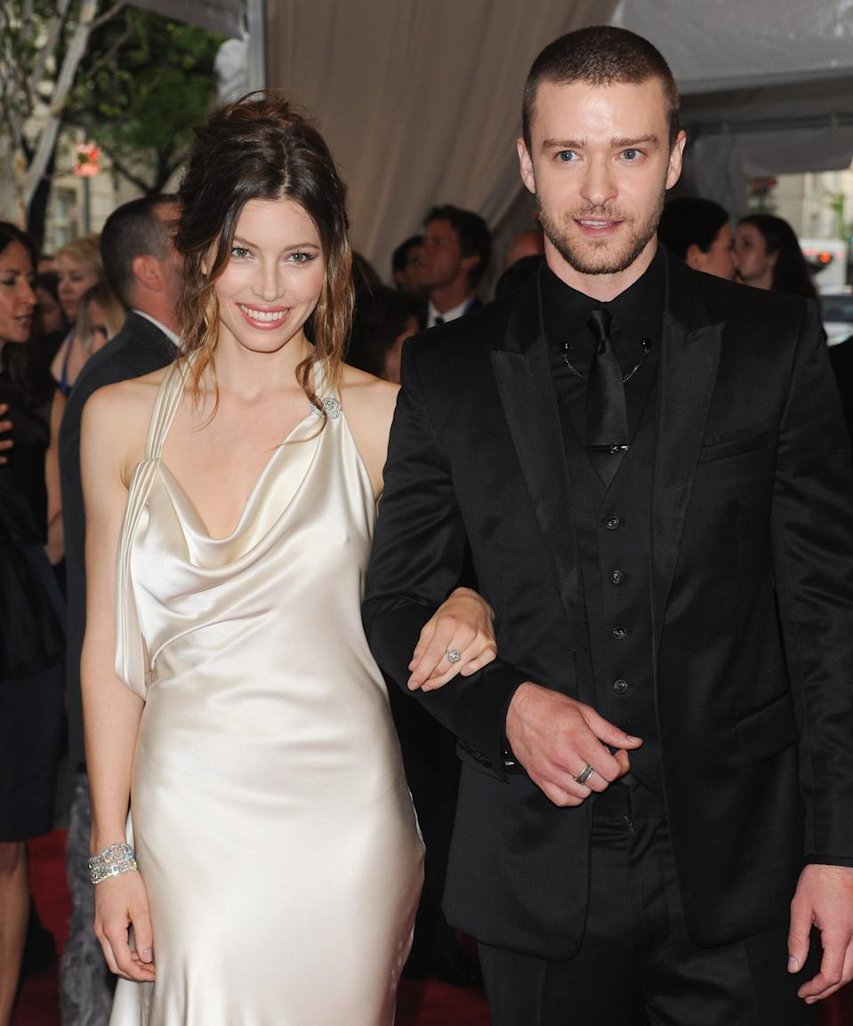 Jessica Biel and Justin Timberlake arrive at the Metropolitan Museum of Art Costume Institute gala, Monday, May 3, 2010 in New York.