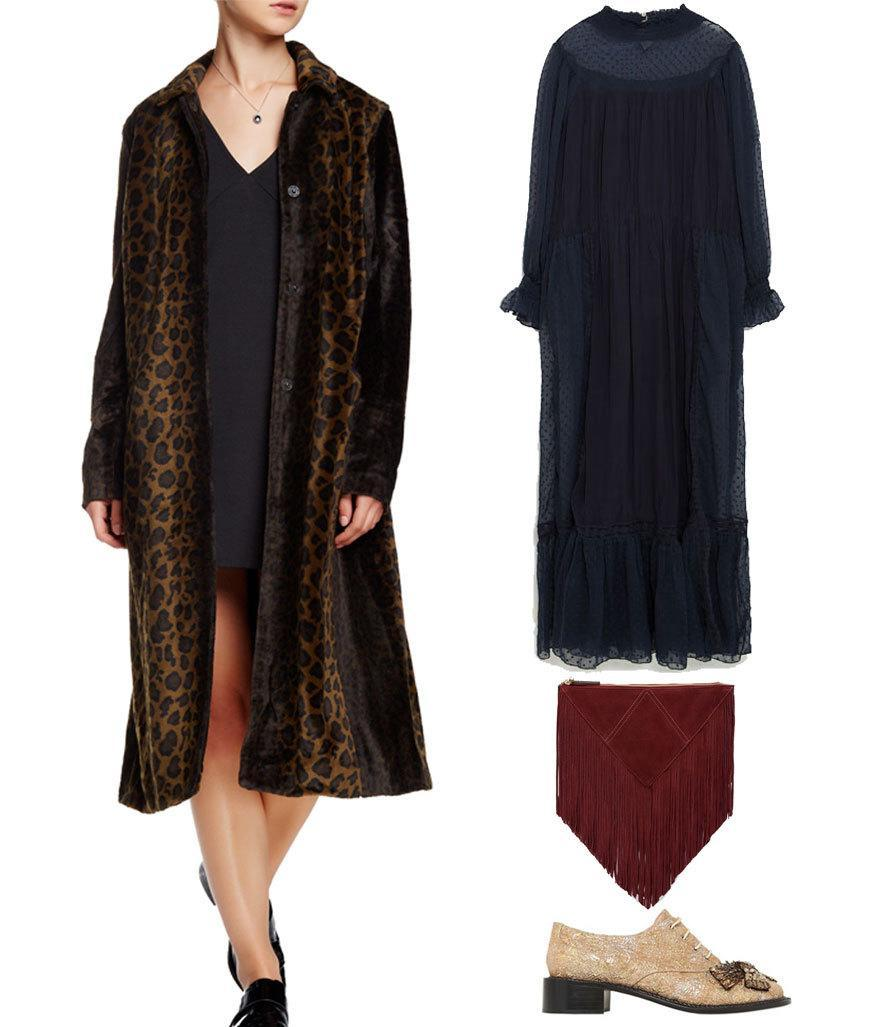 <p>Vintage girls will always love a leopard coat — fully embrace its throwback appeal in a high-neck maxi dress and a clunky oxford. It's a look we think Lynn Yeager would approve of.</p>