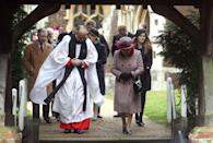 """<p>The royal family always <a href=""""http://www.telegraph.co.uk/christmas/0/do-royal-family-celebrate-christmas-will-william-kate-harry/"""" rel=""""nofollow noopener"""" target=""""_blank"""" data-ylk=""""slk:attends a Christmas morning service"""" class=""""link rapid-noclick-resp"""">attends a Christmas morning service</a> at St Mary Magdalene Church. The service is typically 45 minutes. </p>"""