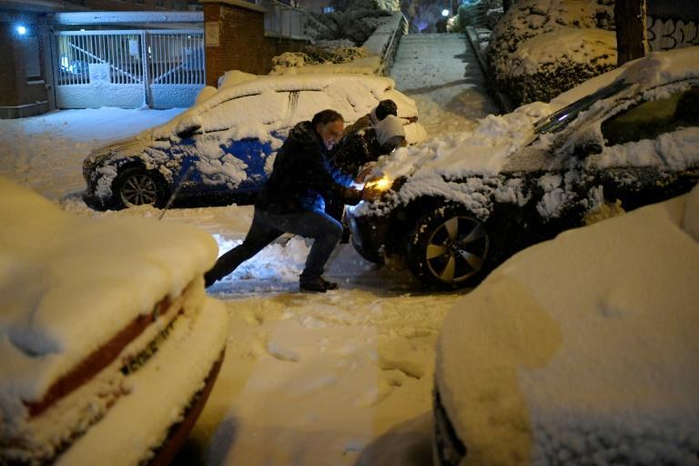 The extreme weather brought by Storm Filomena left Madrid under a deep blanket of snow, causing chaos on the roads
