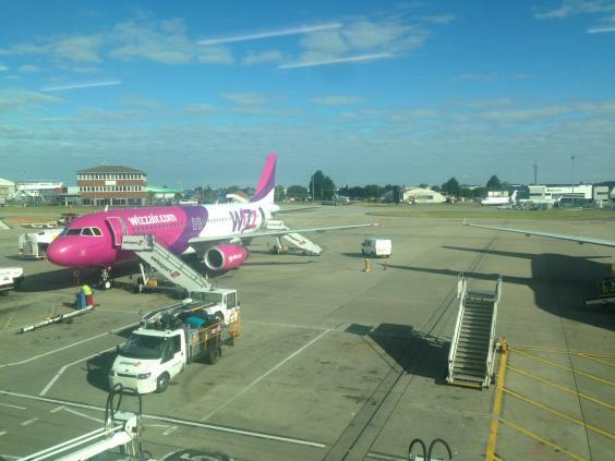 All aboard: Wizz Air Airbus jet at Luton Airport (Simon Calder)