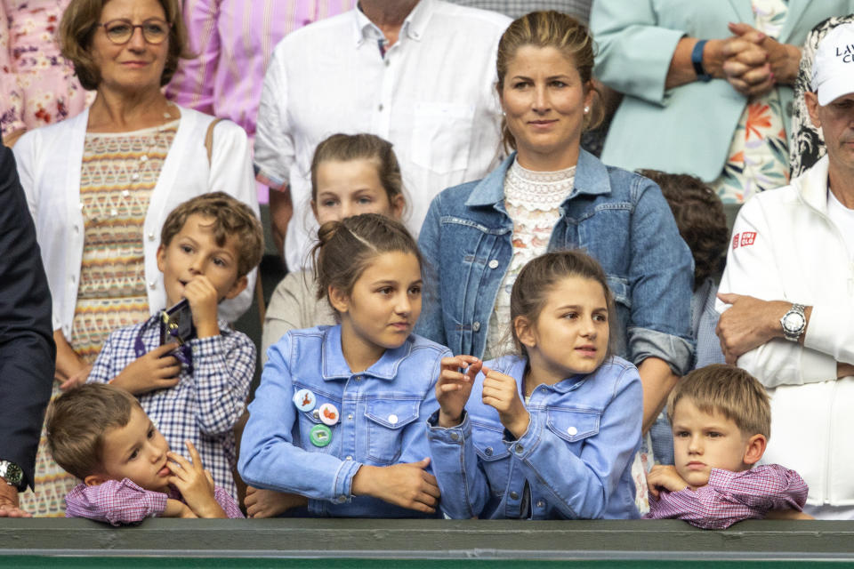Mirka Federer, wife of Roger Federer with their children nine-year-old twin girls Charlene and Myla and five-year-old boys Lenny and Leo.